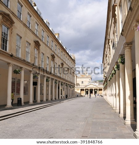 View of a Beautiful Street in the Landmark City of Bath in Somerset England - stock photo