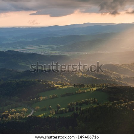 View of a beautiful sunset on the top of the hill, panoramic picture. - stock photo