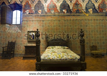 View of a bedroom inside the house museum of Florence in Florence - stock photo