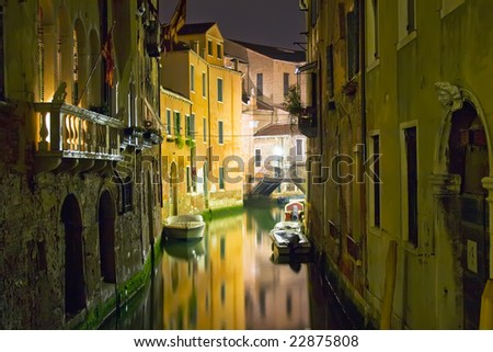 View of a canal in Venice during night - stock photo