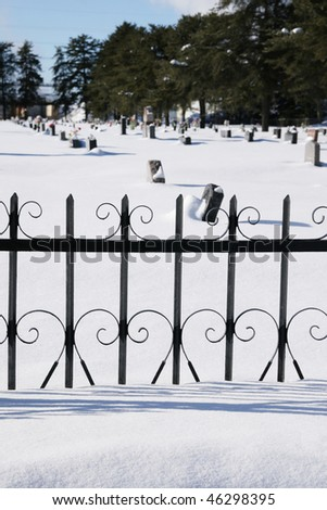 VIew of a cemetery during winter season - stock photo