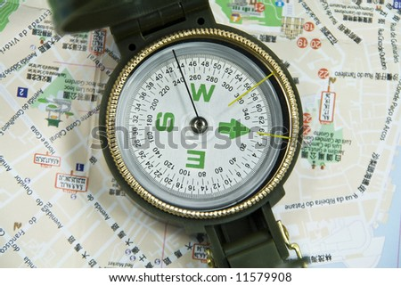 view of a compass on a map