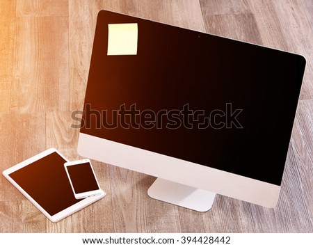 View of a  Computer in high definition with laptop, tablet and mobile
