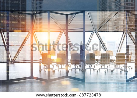 View Conference Room Table Beige Chairs Stock Photo Royalty Free - Standing conference room table