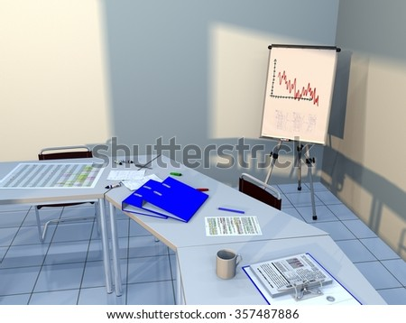 View of a conference room with tables, chairs, ring binders, felt tip markers, pens, pencils, handwritten notes and other documents, as well as a cup of coffee and a flipboard in background - stock photo