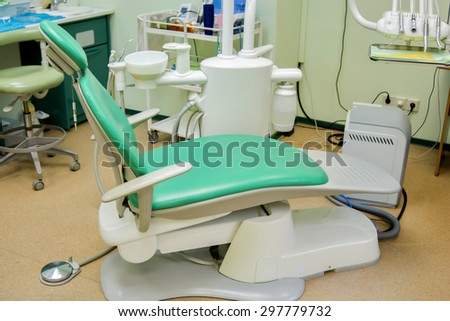 View of a dentist room, green colors