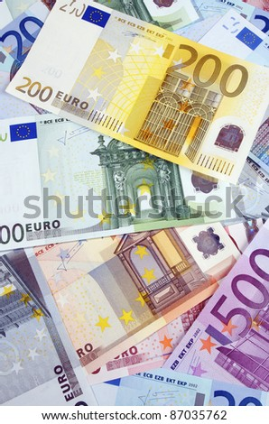 view of  a diverse group of  European banknotes
