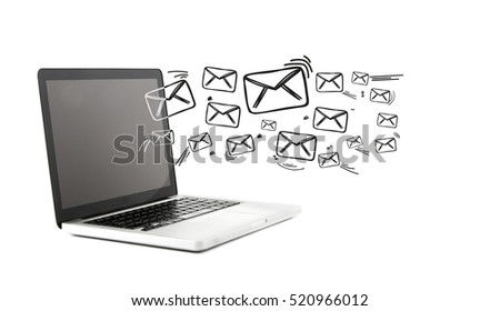 View of a Email icons going out a computer