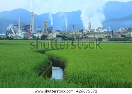 View of a factory in the middle of a green rice farm in the early morning ~ Factory pipes polluting air in a silent morning, a serious environmental issue - stock photo