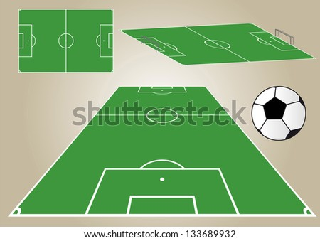 View of a football field from different angles.  Soccer - stock photo