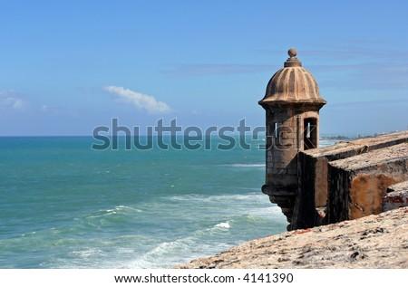 View of a garita and Caribbean Sea from the El Morro fort in San Juan, Puerto Rico. - stock photo