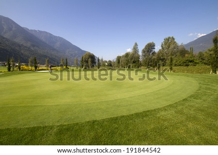 view of a golf course - stock photo