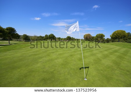 view of a golf course with a white pennant - stock photo