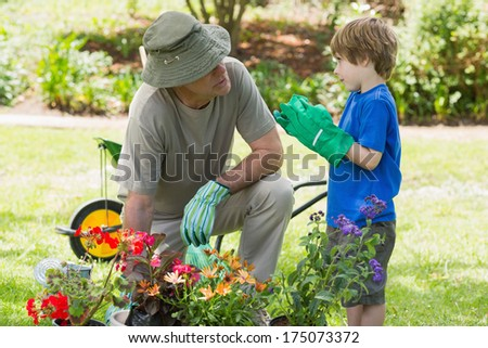 View of a grandfather and grandson engaged in gardening - stock photo