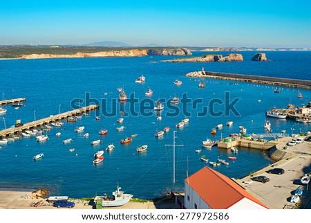 View of a harbor in Sagres, Algarve, Portugal - stock photo