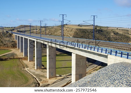 view of a high-speed viaduct in Alconchel de Ariza, Saragossa, Aragon, Spain.  - stock photo