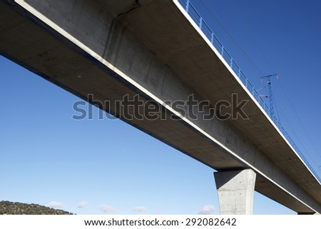 view of a high-speed viaduct in Sagides, Soria, Castilla Leon, Spain. AVE Madrid Barcelona. - stock photo