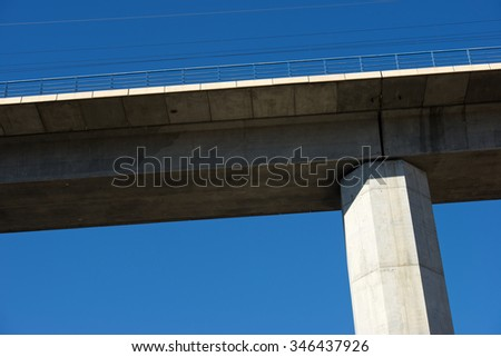 view of a high-speed viaduct in Zaragoza Province, Aragon, Spain. AVE Madrid Barcelona. - stock photo