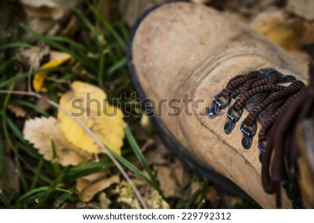 view of a hiking boot - stock photo