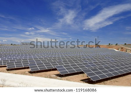 view of a huge solar field for renewable electric energy production, Soria, Spain - stock photo