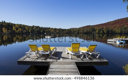 view of a jetty on the Lac-Superieur, in Laurentides, Mont-tremblant, Quebec, Canada