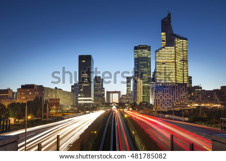 View of a La defense district business in Paris at night, France