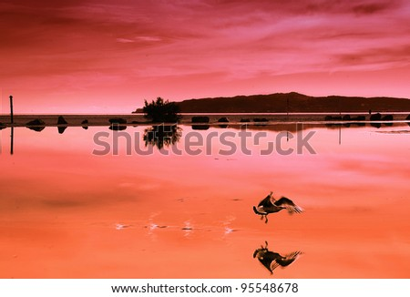 view of a landscape at Costa Brava with a beach and part of the coast - stock photo