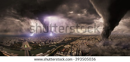 View of a large tornado destroying an entire city - stock photo