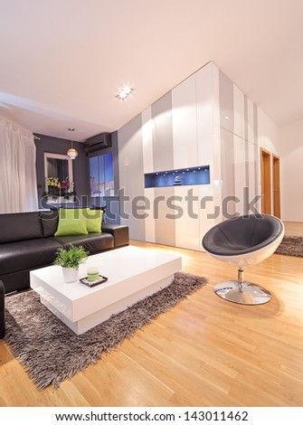 View of a living room in modern apartment - stock photo