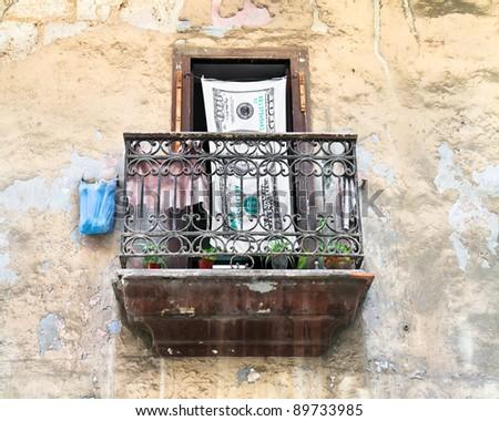 View of a local balcony  in  Havana, Cuba - stock photo