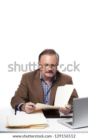 View of a mature businessman at work