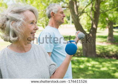 View of a mature couple using dumbbells at the park - stock photo