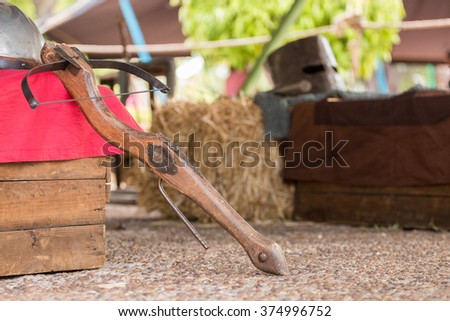 View of a medieval crossbow on a medieval fair.