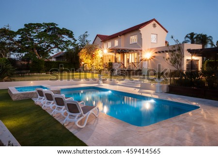 view modern house lights. Exellent Lights View Of A Modern House Or Hotel From The Pool Side Corner With Blue Water  Illuminated Throughout Modern House Lights U