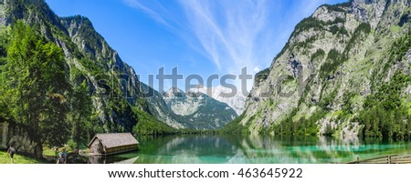 View of a mountain lake in the german alps