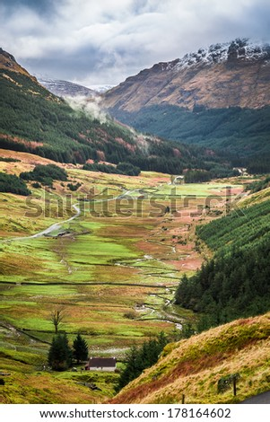 View of a mountain valley in Scotland