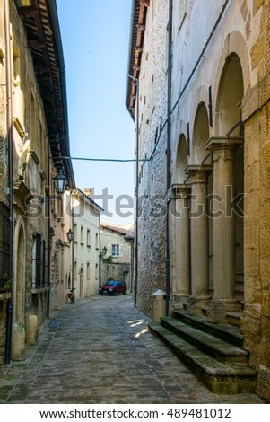view of a narrow street in the historical center of San Marino