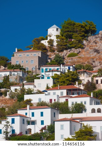 View of a picturesque village on the Greek island of Hydra - stock photo