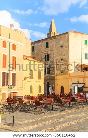 View of a promenade in Alghero, Sardinia - stock photo
