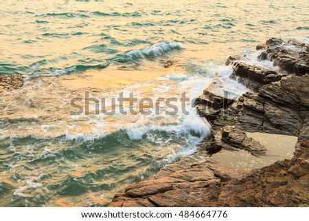View of a rocky beach, Thailand.