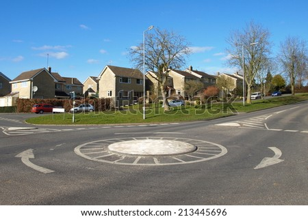View of a Roundabout on a Road in a British Town - stock photo