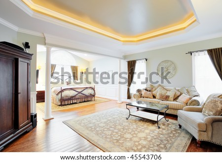 Ceiling cove lighting stock images royalty free images vectors view of a sitting area and bed in a master suite with coved ceiling horizontal aloadofball Images