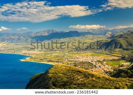 view of a small town Oliveri near famous place Tindari, Sicily, Italy - stock photo