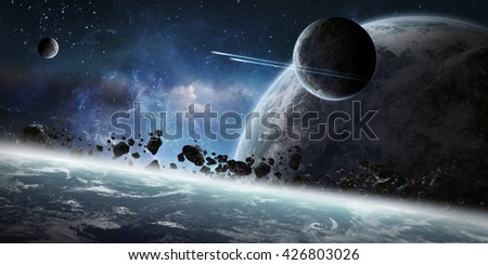 View of a sunrise on a distant planet system in space '3D rendering' 'elements of this image furnished by NASA' - stock photo