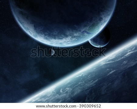 View of a sunrise on a distant planet system in space 'elements of this image furnished by NASA' - stock photo