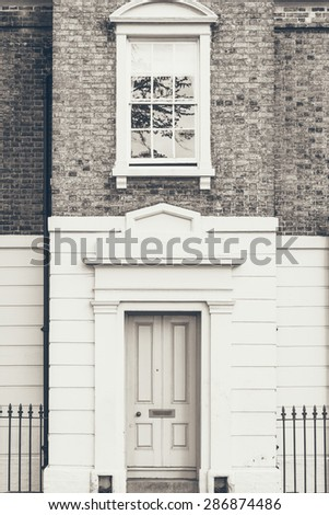 View of a terraced house - Architectural details in Cambridge, England - stock photo