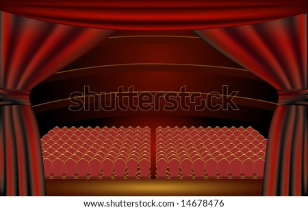 View of a theater audience hall from the stage through the curtains