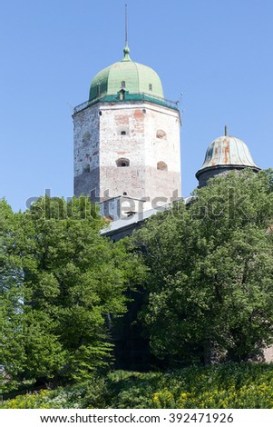 View of a tower of the lock of the city of Vyborg in a clear sunny day