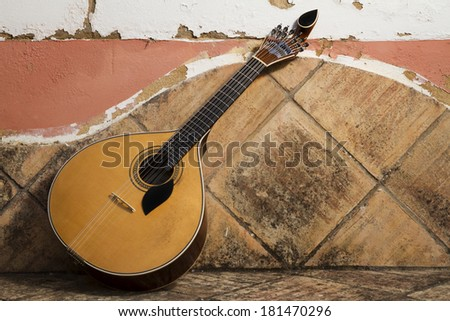 view of a traditional Portuguese guitar instrument on a stone bench. - stock photo