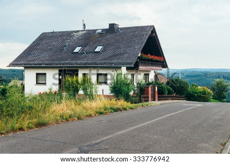 View of a typical traditional house in Dickschied, Germany - stock photo